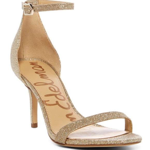 5c3f0087fd38 Sam Edelman Patti Gold Glitter Sandals
